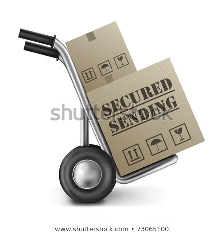 Küldés kartondoboz kéz teherautó jelmondat izolált Stock fotó © tashatuvango