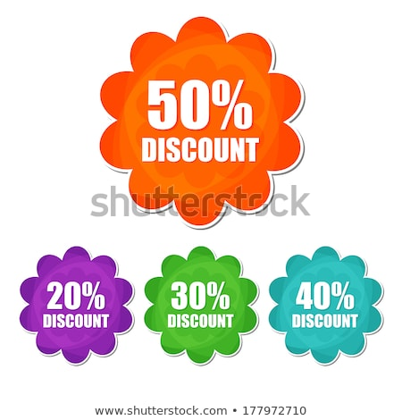 20 30 40 50 percentages spring discount in four colors flower stock photo © marinini