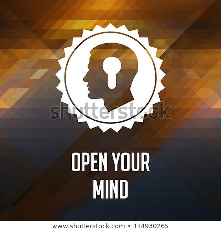 Open geest leuze driehoek retro label Stockfoto © tashatuvango