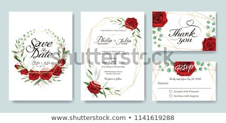 Rood rose hart vector wenskaart rode rozen hartvorm Stockfoto © beaubelle