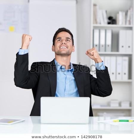 Foto d'archivio: Uomo · d'affari · laptop · vista · laterale · arrabbiato · giovani · grigio