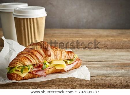 vers · sinaasappelsap · croissant · sandwich · houten · tafel · frans - stockfoto © raphotos
