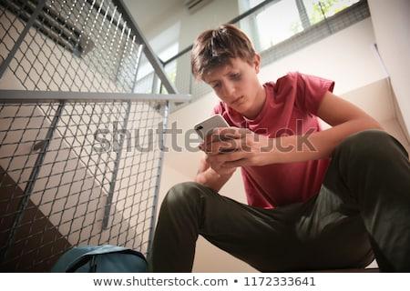 Agressief geïsoleerd witte portret jongen Stockfoto © CandyboxPhoto