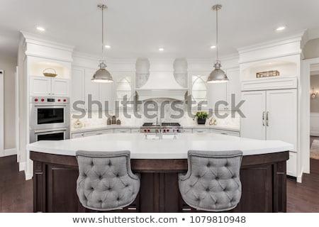 luxuoso · armário · de · cozinha · mansão · edifício · madeira · vidro - foto stock © vizarch