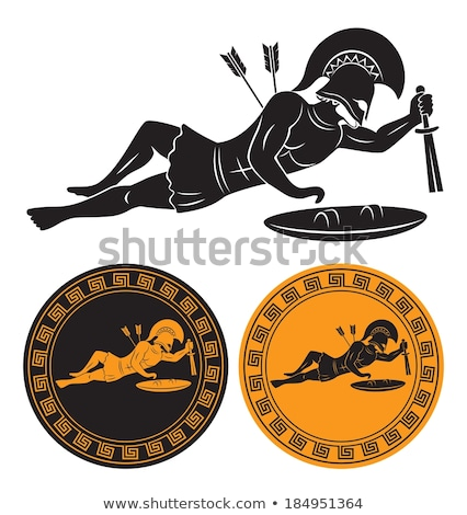 wounded gladiator with spear and shield stock photo © nejron