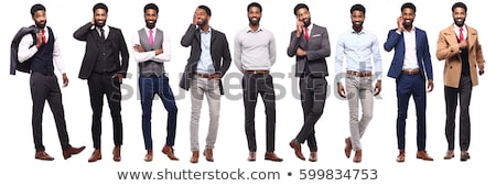 young African American man with white sign stock photo © jeffbanke