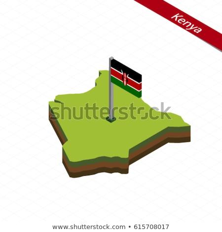 Stock fotó: Térkép · Kenya · 3D · forma · színes · kék