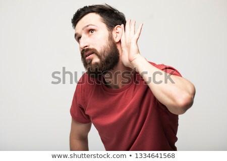férfi · hallgat · kézmozdulat · kéz · mögött · fül - stock fotó © alexandrenunes