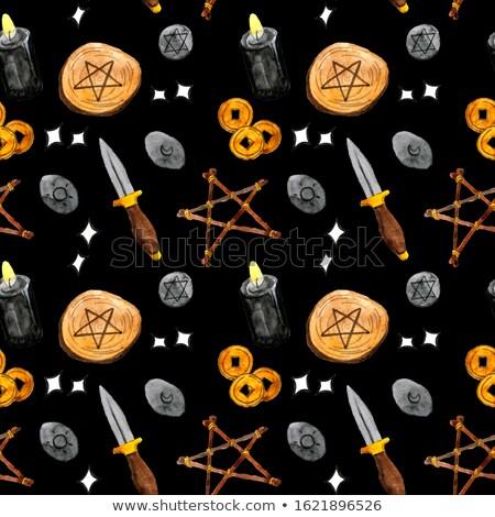 Halloween Symbols Seamless Pattern Contrast Stock photo © Voysla
