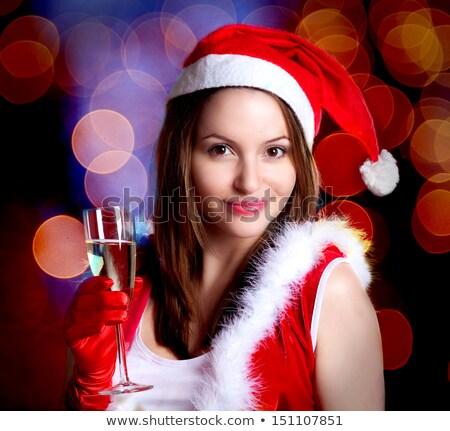 Foto stock: Atraente · champanhe · isolado · branco · mulher