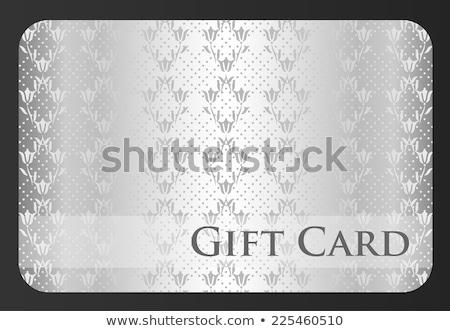 Exklusiv weiß Geschenkkarte Damast Ornament Tulpe Stock foto © liliwhite