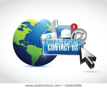 globe and post it illustration design over white background Stock photo © alexmillos