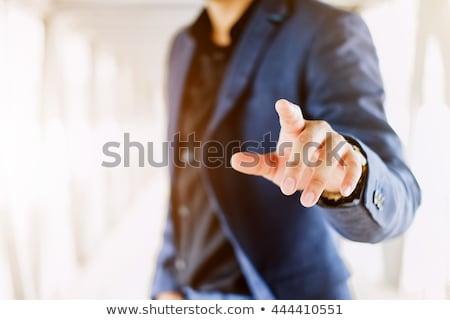 Geschäftsmann Touchscreen Business Mann abstrakten Hintergrund Stock foto © ymgerman
