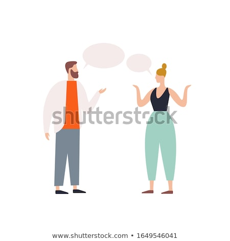 cartoon woman explaining with speech bubble Stock photo © lineartestpilot