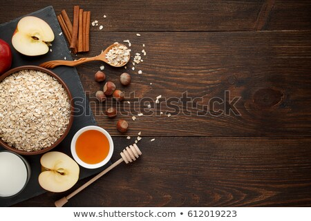Raw Rolled Oats with Apples and Milk Stock photo © ildi