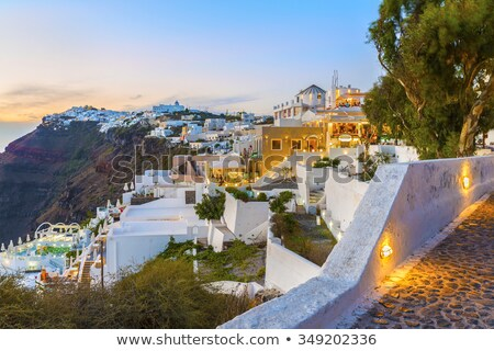 Thira, Santorini island, Greek: the caldera after the sunset  Stock photo © ajlber