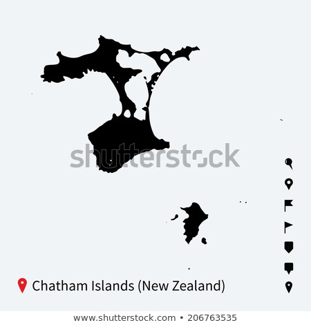 high detailed vector map of chatham islands with navigation pins stock photo © tkacchuk