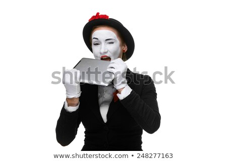 business woman in the image mime holding tablet PC Stock photo © master1305