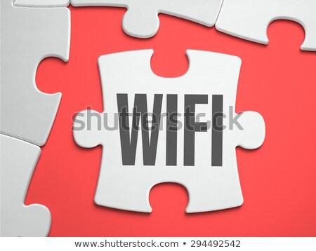 Wifi puzzle miejsce brakujący sztuk bezprzewodowej Zdjęcia stock © tashatuvango