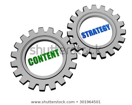Content Strategy In Silver Grey Gears Stockfoto © marinini