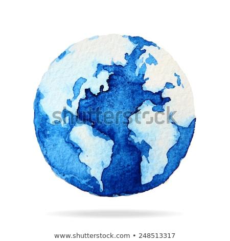 világ · földgömb · utazás · vektor · vízfesték · oktatás - stock fotó © artibelka