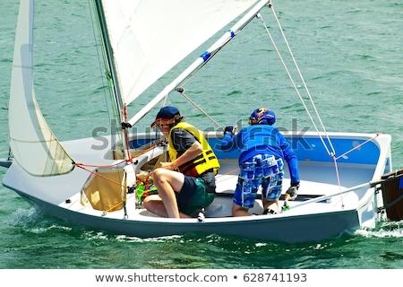 Zeilen meer klein witte boot wolken Stockfoto © smuki