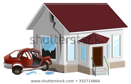 Car crash. Car crashed into wall at home. Property insurance Stock photo © orensila