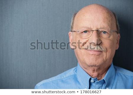 senior · man · portret · glimlachend · bril · gezicht - stockfoto © ozgur