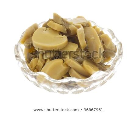 Kicsi edény ízletes dobozos szeletel gombák Stock fotó © ozaiachin