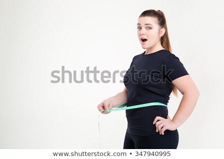 Stock fotó: Kövér · nő · mér · derék · néz · kamera