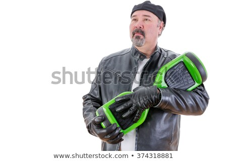 Serious man in leather holding his hoverboard Stock photo © ozgur
