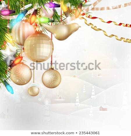Stok fotoğraf: Noel · manzara · arkasında · cam · eps · 10