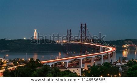 リスボン · 橋 · 夕暮れ · 景観 · 25 · 吊り橋 - ストックフォト © elxeneize