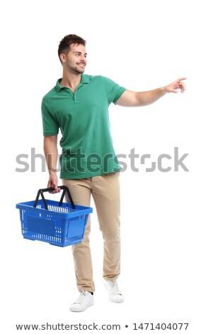 férfi · tart · áruház · kosár · tele · egészséges · étel - stock fotó © rastudio