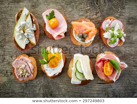 Ciabatta with Salmon, Cream Cheese and Capers Stock photo © StephanieFrey