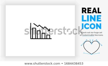 bar chart down line icon stock photo © rastudio