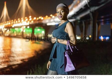 Czarny dziewczynka most ilustracja kobieta morza Zdjęcia stock © bluering
