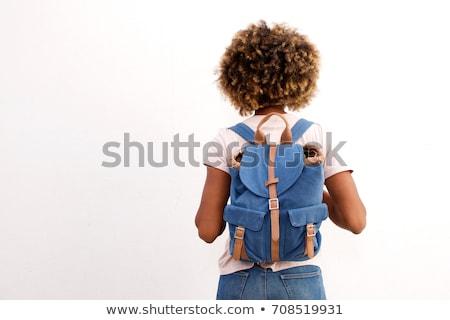Stockfoto: Vrouwelijke · student · rugzak · geïsoleerd · witte · vrouw