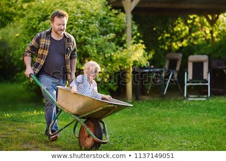 Kids playing wheelbarrow in the yard Stock photo © bluering