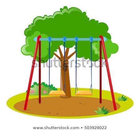 Charakter scena huśtawka drzewo ilustracja lasu Zdjęcia stock © bluering