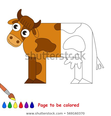 Coloring worksheet with a cow Stock photo © bluering