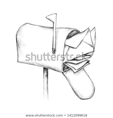 Schets postbode illustratie witte kantoor achtergrond Stockfoto © bluering