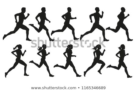 people running silhouettes stock photo © comicvector703
