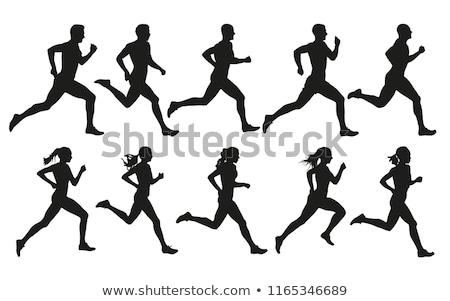 Emberek fut sziluettek jó szimbólum logo Stock fotó © comicvector703