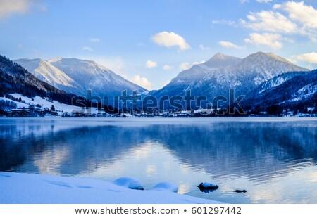 Göl mavi gökyüzü kış manzara gökyüzü ağaç Stok fotoğraf © kb-photodesign