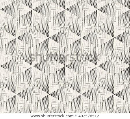 Vector Seamless Black and White Dot Stippling Geometric Rhombus Cube Pattern Stock photo © Samolevsky