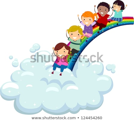 Children sliding down the rainbow Stock photo © bluering