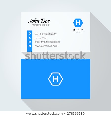 elegant business card design template with blue shapes Stock photo © SArts
