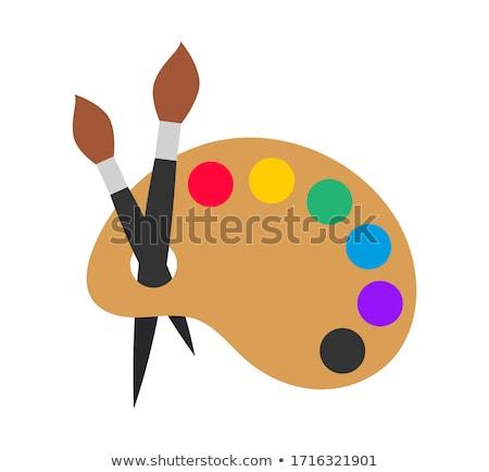 paletta · festőecsetek · alapvető · színek · eps8 · festék - stock fotó © day908
