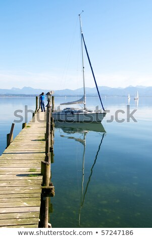 Sailing boat at lake Chiemsee, Bavaria, Germany Stock photo © kb-photodesign